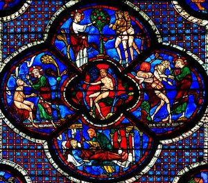 Bild: F.T.Marchese, https://www.researchgate.net/figure/Chartres-Cathedral-partial-view-of-Bay-44-of-the-Good-Samaritan-Typologcal-window_fig2_267391617